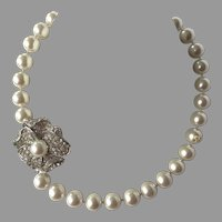 Vintage Kenneth Jay Lane KJL Faux Pearl Necklace With Pave Rhinestone Clasp