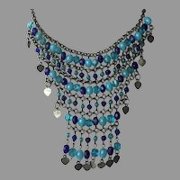 REDUCED Vintage Blue Glass Bead & Hearts Bib Necklace