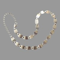 Vintage Italian Sterling Silver Panel Necklace