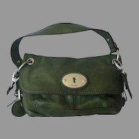 Vintage Olive Green Leather Fossil Cross Body Purse Bag