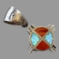 Native American Sterling Spiny Oyster Shell & Opal Pendant Signed