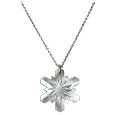 Vintage Gorham Crystal Snowflake Pendant On Sterling Chain 1977