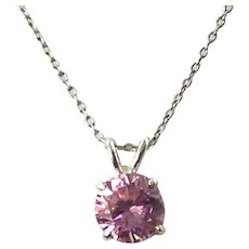 Sterling Silver Pink CZ Pendant Necklace