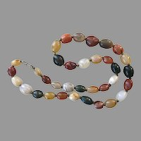 Vintage Multi-Colored Agate Beaded Necklace 23 Inches