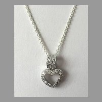 REDUCED Sterling CZ Heart Pendant On Chain