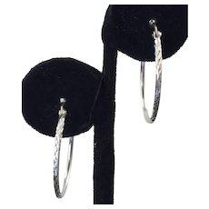 Sterling Etched Hoop Earrings