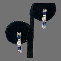 Simulated Diamond & Blue Sapphire Sterling Half Hoop Earrings