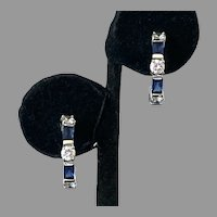 REDUCED Simulated Diamond & Blue Sapphire Sterling Half Hoop Earrings