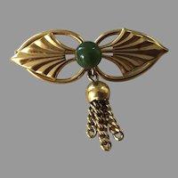 Vintage Wells 14K Gold-Filled Jade Pin With Tassel