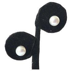 Genuine White Pearl & Sterling Stud Earrings