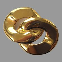 Vintage Gold Tone Overlapping Circle Pin