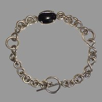 REDUCED Silver & Black Tiger's Eye Link Bracelet