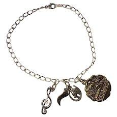 REDUCED Vintage Sterling Charm Bracelet Three Charms