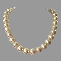 Vintage Single Strand Large Faux Champagne Pearls
