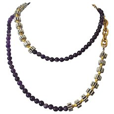 Amethyst Beaded Necklace With Silver & Gold Tone Beads