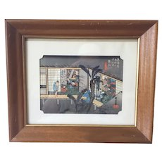 Vintage Japanese Woodblock Print By Ando Hiroshige In Frame