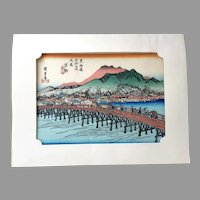 REDUCED Vintage Japanese Woodblock Print By Ando Hiroshige In Frame