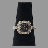 Sterling Ring With Black & Clear Cubic Zirconia Stones