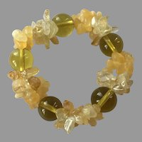 Yellow Glass Bead Rock Crystal & Citrine Chip Stretch Bracelet