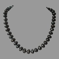 Vintage Faux Black Pearl Necklace With Flower Clasp