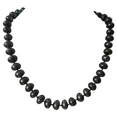 Vintage Faux Black Pearl Necklace