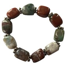 Jasper Bead Stretch Bracelet With Silver Tone Spacers