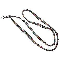 Vintage Boho Beaded Rawhide Long Necklace