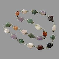 Vintage Jasper, Agate, Quartz Beaded Necklace