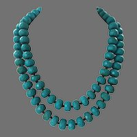 REDUCED Turquoise Faceted Crackled Glass Beaded Necklace