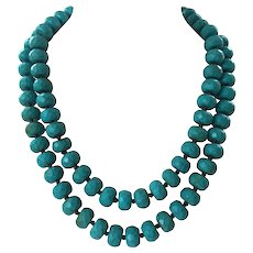 Turquoise Faceted Crackled Glass Beaded Necklace