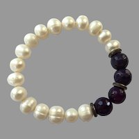 Genuine Cultured Pearl & Amethyst Bead Stretch Bracelet