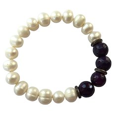 Genuine Pearl & Amethyst Bead Stretch Bracelet