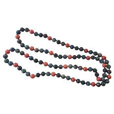 Dyed Jasper Beaded Necklace Hand Knotted