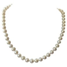 Single Strand White Pearl Necklace With Sterling Clasp