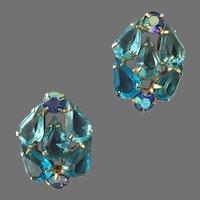 Vintage Aqua & Blue Aurora Borealis Rhinestone Gold Tone Earrings