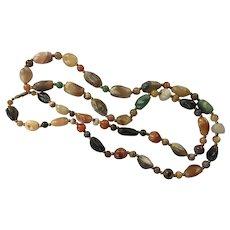 Vintage Multi-Colored Agate Beaded Necklace 39 Inches Long