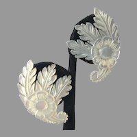 Vintage Carved Floral Mother-Of-Pearl Earrings
