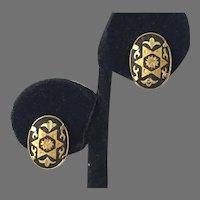 Vintage Japanese Damascene Clip Earrings