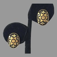 Vintage Japanese Damascene Clip Earrings