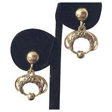 Vintage 1940's Karu Gold Tone Drop Earrings