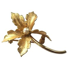 Vintage Gold-Filled Flower Pin With Pearl