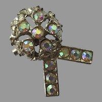Vintage Clear Aurora Borealis Pin