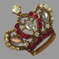 Gold Tone Crown Pin With Faux Moonstones & Rubies