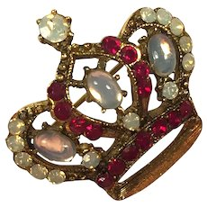 Faux Moonstone & Ruby Gold Tone Crown Pin