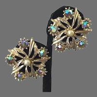 Vintage Aurora Borealis & Simulated Pearl Clip Earrings