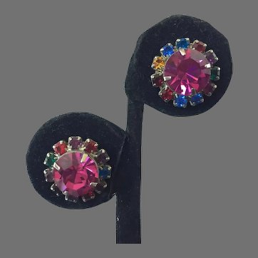 Vintage Colored Rhinestone Stud Earrings