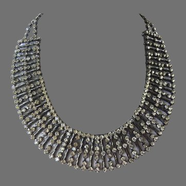 Stunning Rhinestone & Gunmetal Bib Collar Necklace