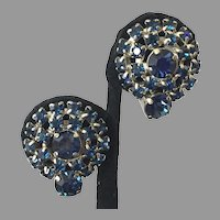 Vintage Dark Blue Rhinestone Clip Earrings