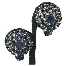 Vintage Dark Blue Rhinestone Clip Earrings