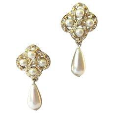 Vintage Gold Tone Faux Pearl Rhinestone Drop Earrings